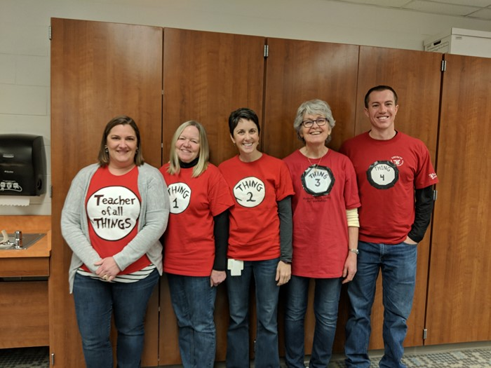 Mrs Boyer, Ms Borst, Mrs Alexander, Ms Henry and Mr Miller celebrate Thing Day