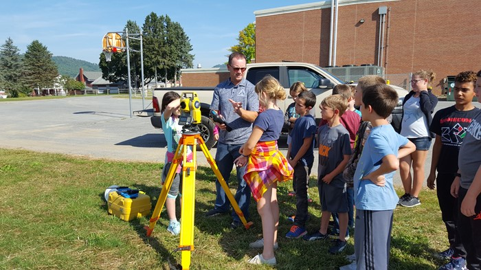 Local surveyor, Jeremy Fletcher, shares his knowledge and experience with a fifth grade class.